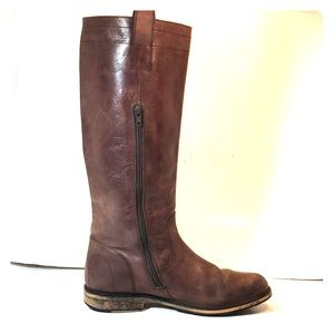 Bronx Brown Leather Zip Tall Riding Boots 40
